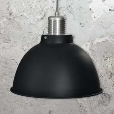 Large Matt Black Industrial Pendant Light