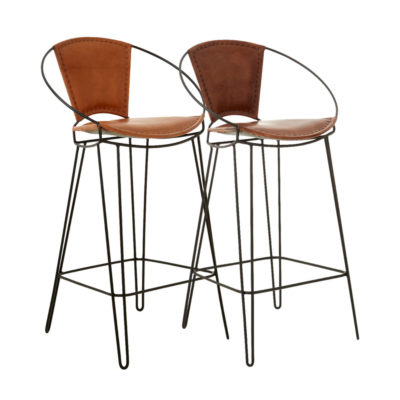 Leather Hairpin Bar Stool
