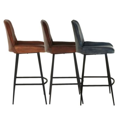 Leather High Back Iron Bar Stool