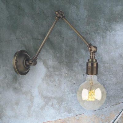 Long Brass Triple Jointed Wall Light