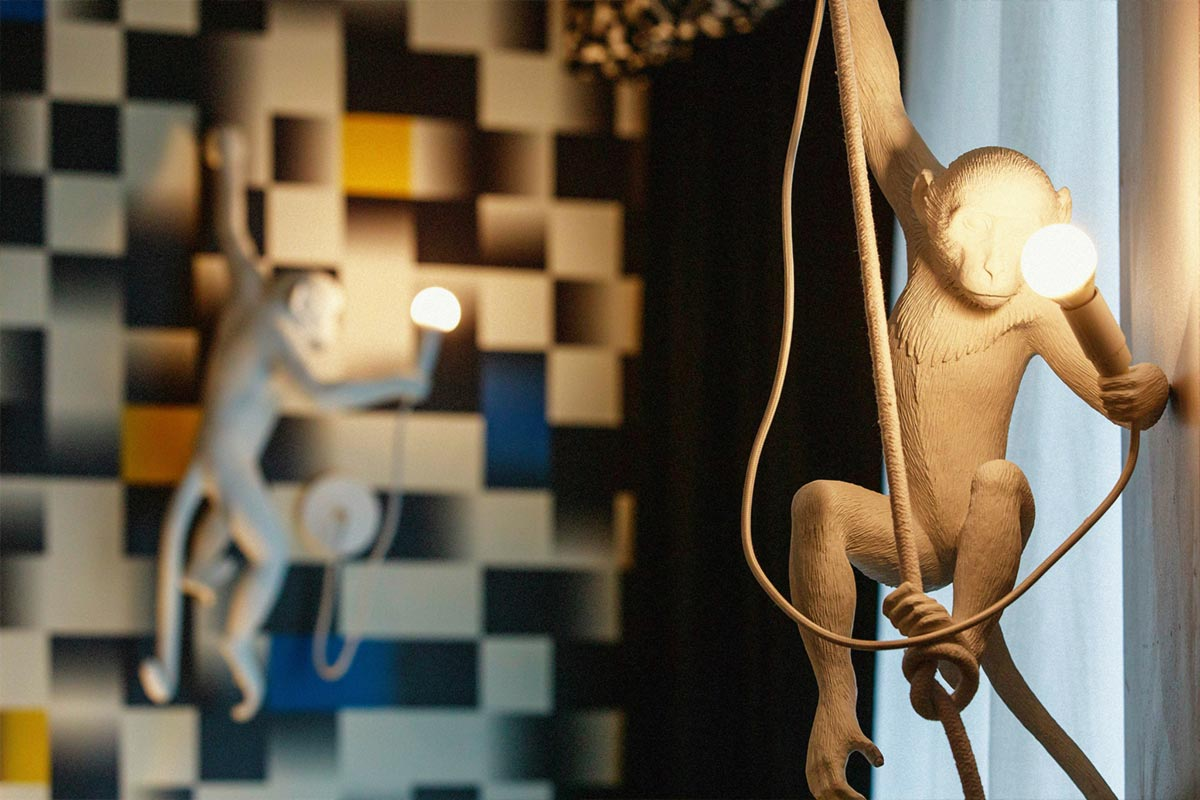 Malmaison Leeds Monkey Wall Light