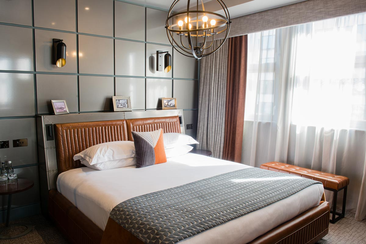 Hotel Lighting UK,Malmaison Suites, Manchester 60's Aviator Lighting Design