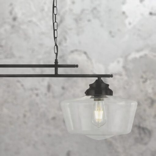 Matt Black 2 Light Schoolhouse Pendant