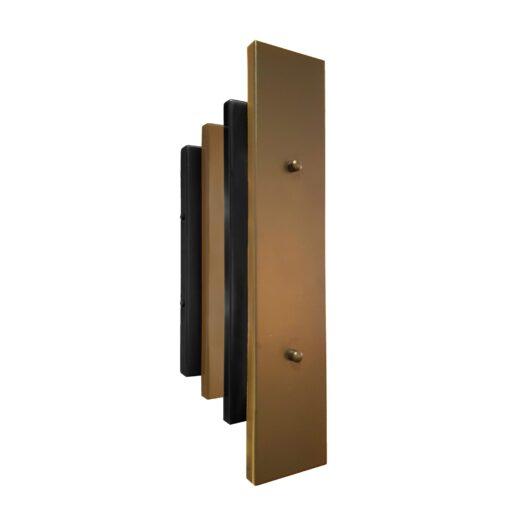 Matt Black Antique Brass Art Deco Panel Wall Light
