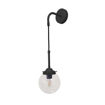 Matt Black Clear Hanging Globe Wall Light