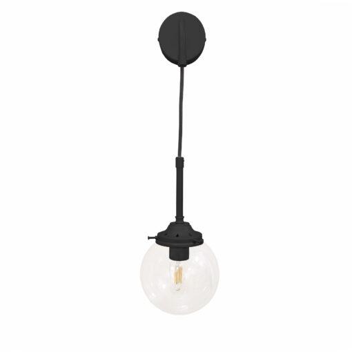 Matt Black Hanging Globe Wall Light