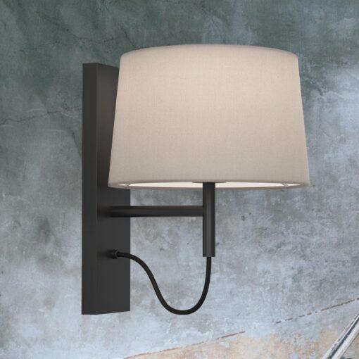 Matt Black Modern Bedside Wall Lamp