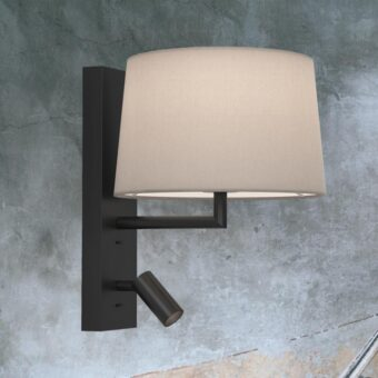 Matt Black Modern Bedside Wall Lamp with Reading Light