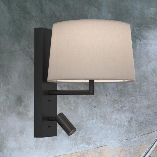 Matt Black Modern Bedside Wall Lamp with Reading Light