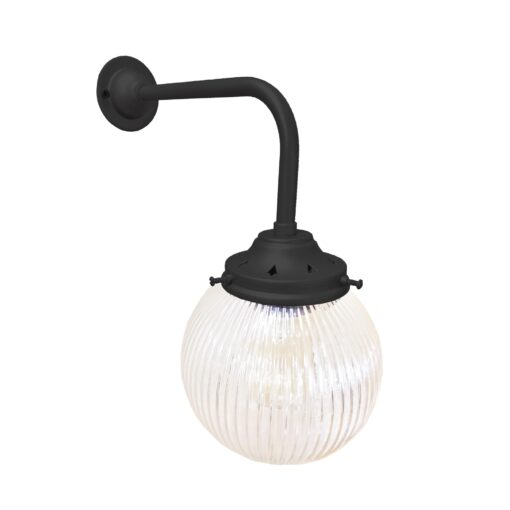 Matt Black Prismatic Globe Wall Light