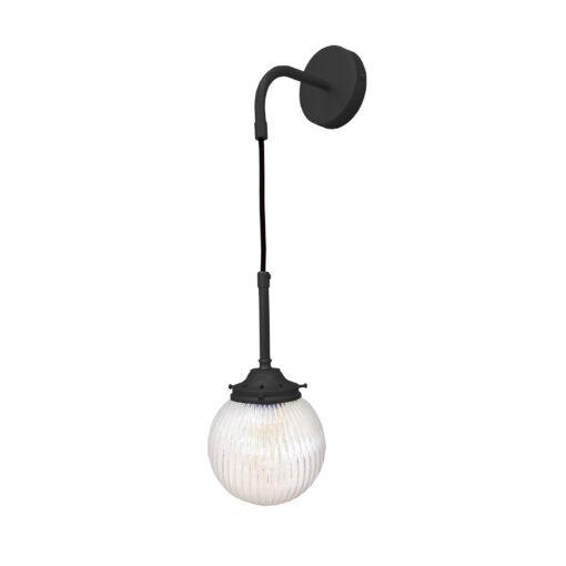 Matt Black Prismatic Hanging Globe Wall Light