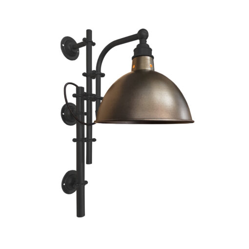 Matt Black Steampunk Wall Light with Brass Shade