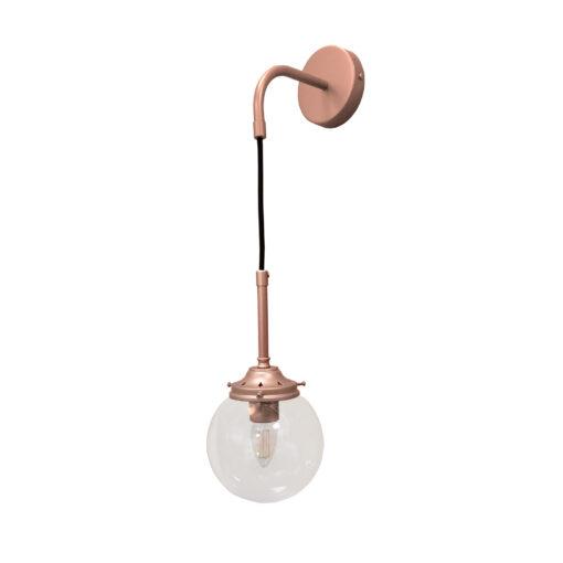 Matt Copper Clear Hanging Globe Wall Light