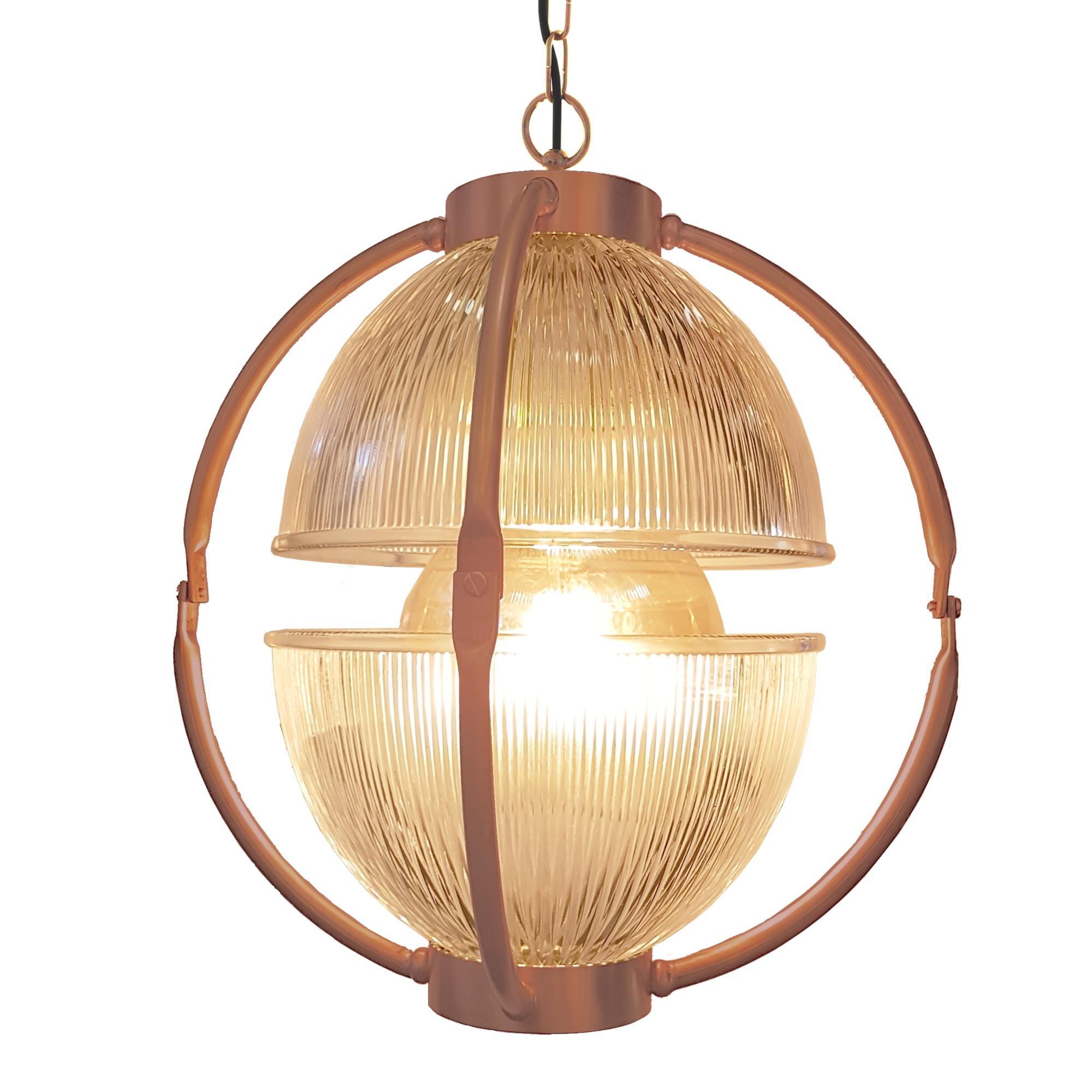Matt Copper Glass Orb Pendant Light | E2 Contract Lighting ...