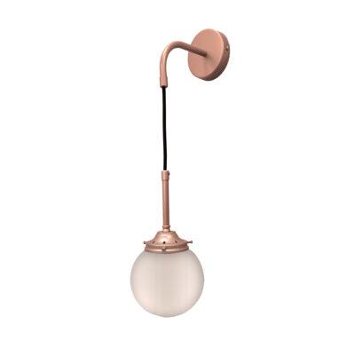 Matt Copper Opal Hanging Globe Wall Light