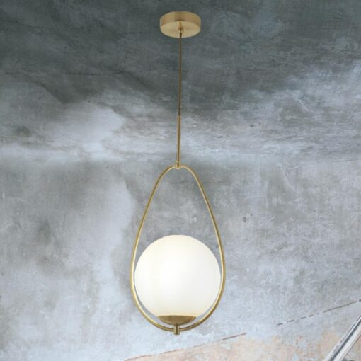 Matt Gold Opal Pendant Light