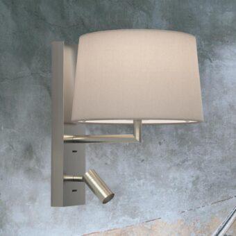 Matt Nickel Modern Bedside Wall Lamp with Reading Light
