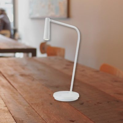 Matt White Bedside LED Task Lamp