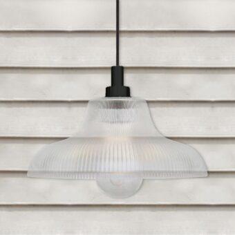Matte Black Outdoor Prismatic Pendant Light