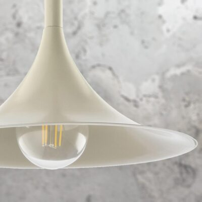 Metal Cream Trumpet Pendant Light
