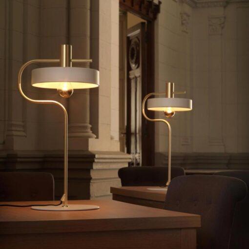 White and Matt Gold Mid Century Modern Table Lamp