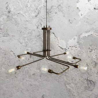 Minimal Geometric Antique Brass Chandelier