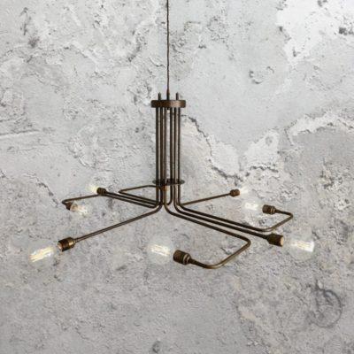 Minimal Geometric Antique Brass Chandelier