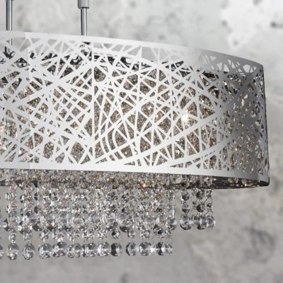 Modern 5 Light Chrome Crystal Chandelier