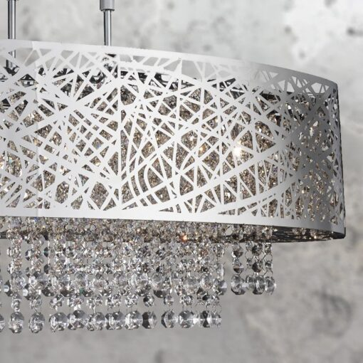 Modern 5 Light Chrome Crystal Chandelier