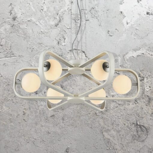 Modern 6 Light White Chandelier