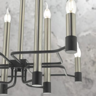 Modern 8 Light Satin Nickel Chandelier