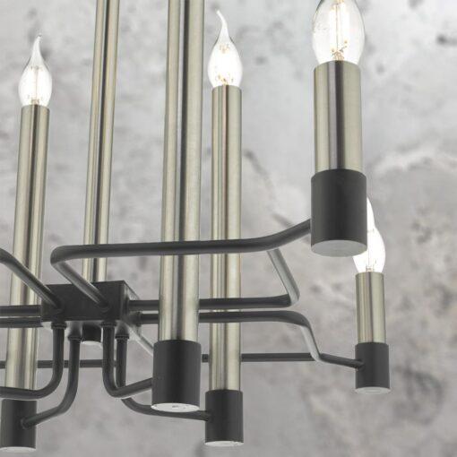 Modern 8 Light Satin Nickel Chandelier