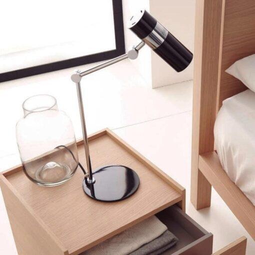 Black and Chrome Modern Adjustable Spotlight Desk Lamp
