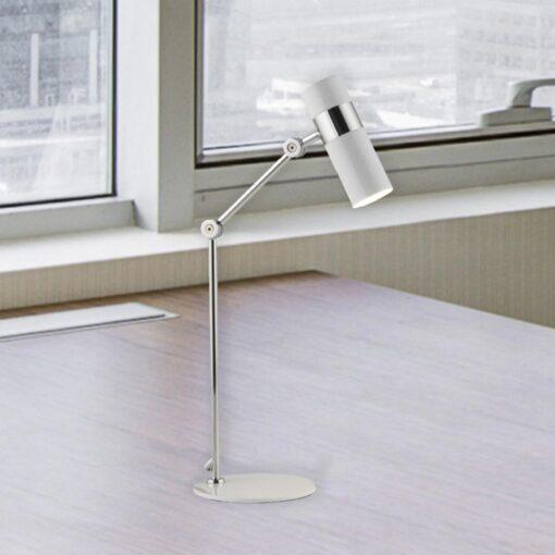 White and Chrome Modern Adjustable Spotlight Desk Lamp