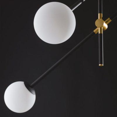 Contemporary Black Four Globe Feature Light