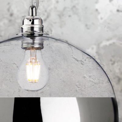 Modern Chrome Clear Glass Ball Pendant Light