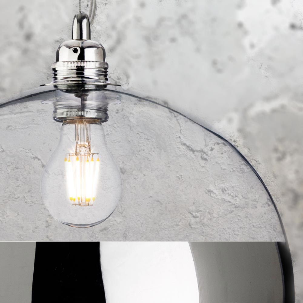 Chrome glass ball pendant light cl 38620
