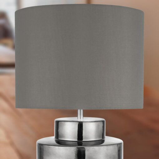 Modern Chrome Table Lamp with Grey Shade
