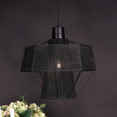 Modern Cotton Black Yarn Pendant Light