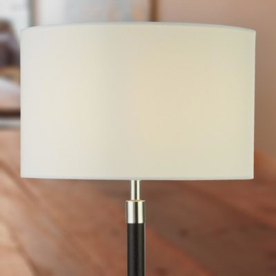 Modern Dark Wood Chrome Table Lamp with White Shade