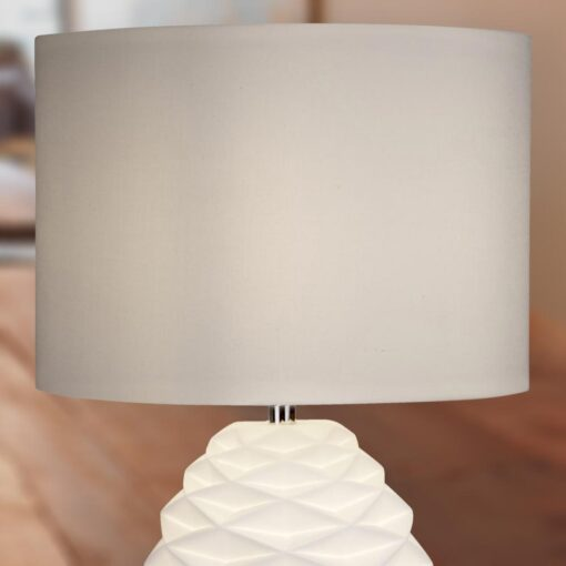Modern Geometric White Table Lamp with White Shade