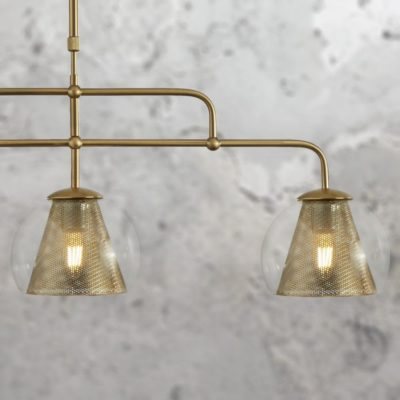 Modern Mesh Glass 3 Light Pendant Bar