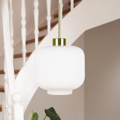 Modern Opal Glass Brass Pendant Light