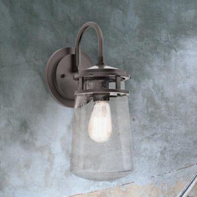 Modern Outdoor Seeded Glass Lantern