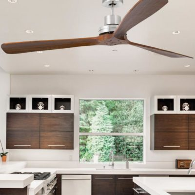 Modern Walnut Wood Ceiling Fan CL-34867
