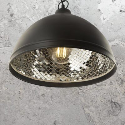 Mosaic Mirrored Inner Black Pendant Light