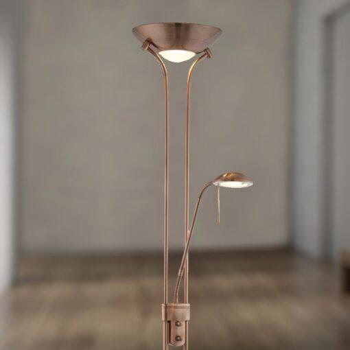 Mother & Child Antique Copper Floor Lamp