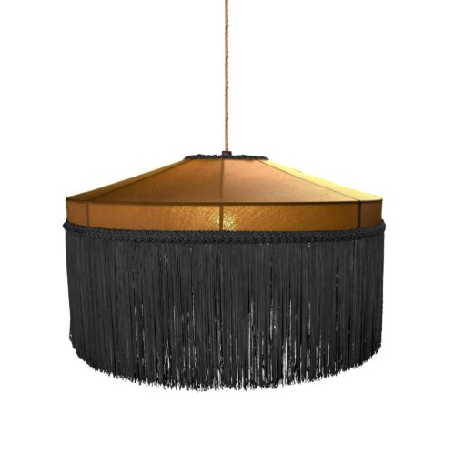 Black Yellow Mustard Fringe Drum Pendant Light 400mm CL-39327