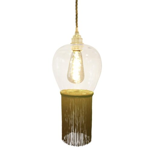 Mustard Yellow Fringe Glass Pendant Light