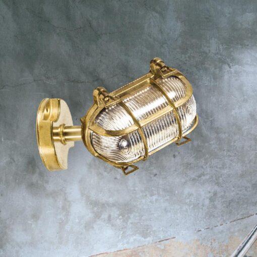 Natural Brass Angled Oval Bulkhead Light